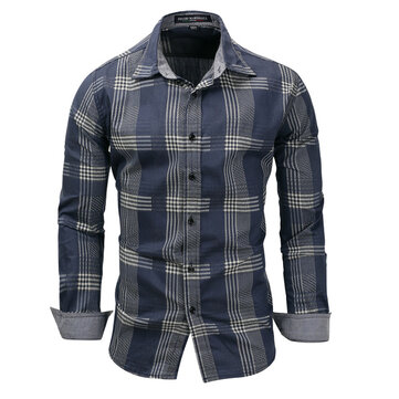 Cross-border For New Foreign Trade Large Size Men's Denim Long-sleeved Plaid Shirt Shirt 119