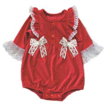 Baby Lace Fly Sleeves Corduroy Rompers For 0-24M