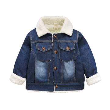 Thicken Lapel Denim Jacket For 1-5Y
