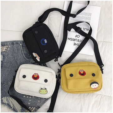 Sesame Street Canvas Bag Female New Small Messenger Bag Wild Japanese Ins Harajuku Style Single Shoulder Cloth Bag