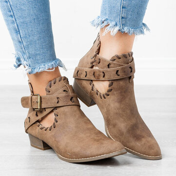 Buckle Strap Square Heel Ankle Boots