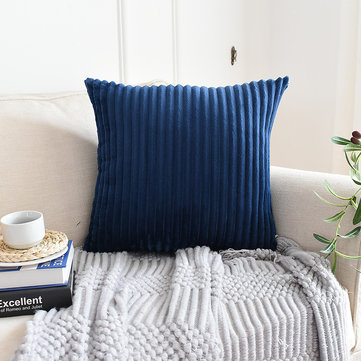 Solid Color Wide Stripe Corduroy Waist Cushion Cover
