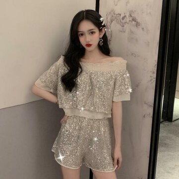 Season New Fashion Suit Sequin Sling + Fake Two Piece Chiffon Splicing Top + Loose Shorts Two-piece Female