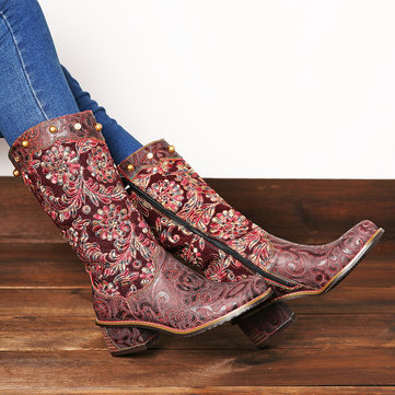 Exquisite Embroidery Mid Calf Boots