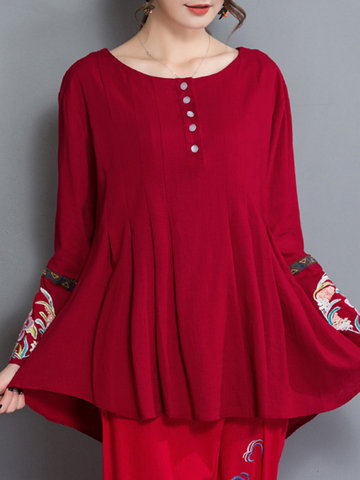 Folk Style Embroidered Button Women Blouses, Wine red