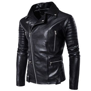 Black Motorcycle Mutil Zipper Leather Jacket