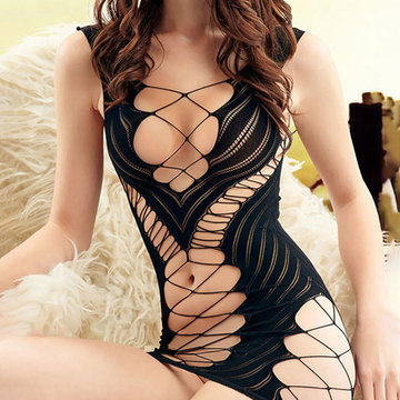 Criss Cross Bodystocking Fishnet Erotic Nightwear Lingerie