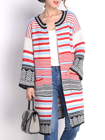 Stripe Print Multi-color Patchwork Women Cardigans, Red yellow green