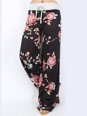 Pantalones casuales sueltos con estampado de flores para mujeres
