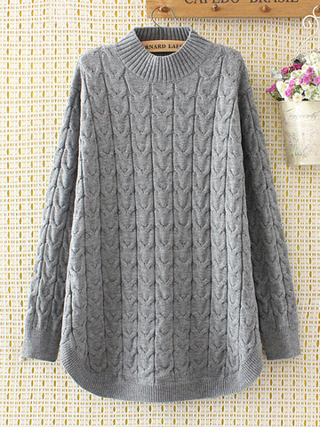 Casual Solid Long Sleeve Knit Sweater