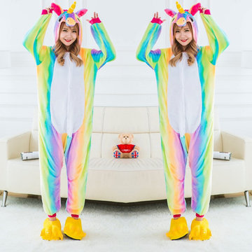 Cute Unicorn Cosplay Thickening Flannel Jumpsuits