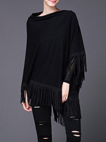 Elegant Tassel Irregular Hem Sweater Shirts