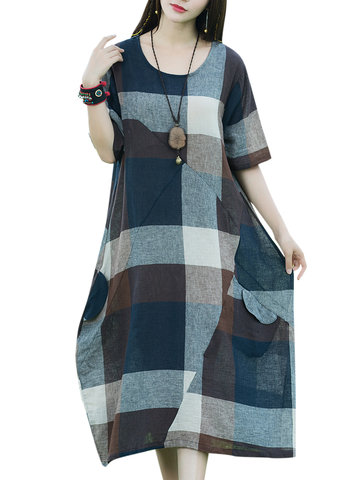 Casual Loose Patchwork Plaid O-Neck Short Sleeve Mid-Calf Women Dresses, Brown grey