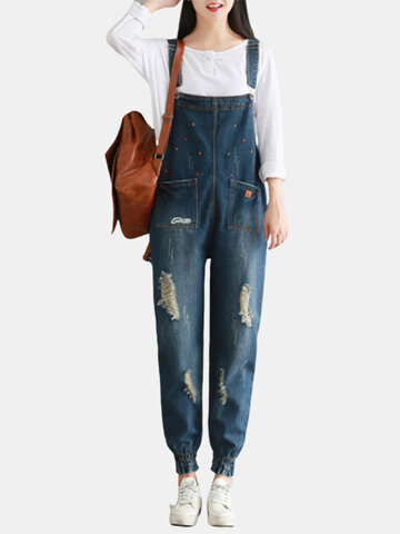 Bordado Ripped Loose Denim Jumpsuits