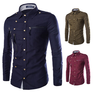 Fashion Slim Zipper Pockets Band Collar Designer Shirts for Men