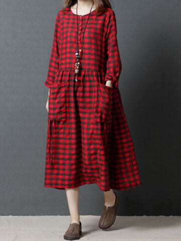 Casual Loose Plaid Dresses