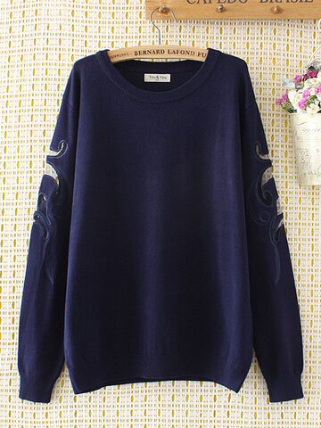 Embroidery Hollow Out Pullover Sweater, Black navy blue