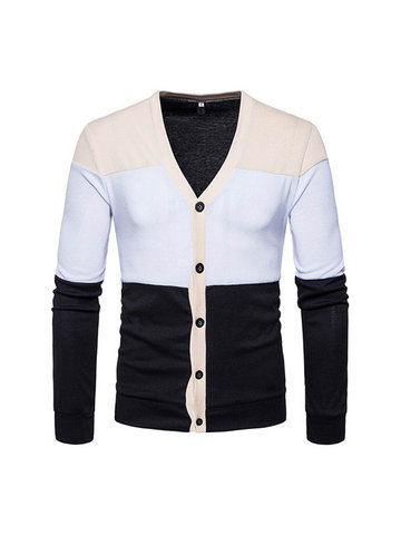 Mens Knitted Striped Single Breasted Hit color Cardigans