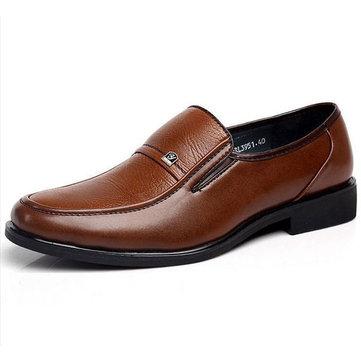 Homme Chaussures Habillées Plates En Cuir Style Britannique Mocassins Décontractés Pour Business Avec Couleur Marron