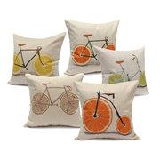 Pellicola arancione al limone Pompelmo per bicicletta Cuscino per cuscini Cuscino per cuscini in lino di cotone