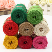 2m Colorful Natural Jute Hessian Burlap Ribbon Sewing Craft Wedding Christmas Gift Decoration
