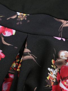 Floral Print Patchwork V Neck Mini Dress