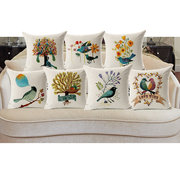 45x45cm Home Decoration Flower and Bird 7 Optional Patterns Cotton Linen Pillow Case