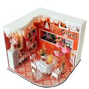 مرح لغز الحلو المنزل الموئل غرفة دي دمية كيت مع الصمام الخفيفة الخشب الديكور