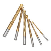 Drillpro 6pcs 3-8mm Titanium Coated HSS Drill Bit Electric Drill Plastic Metal Hole Grooving Woodworking Tools