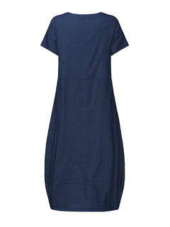 Casual Women Loose Short Sleeve Pockets Denim Lantern Dress