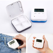 Loskii CR-210 Electronic Timing Medication Organizer Mini Portable Daily Vitamin Pill Case with Dig