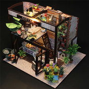 Cuteroom Handcraft DIY Doll House Time Cafe Toy Wooden Miniature Furniture LED Light Gift