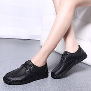 Stitching Leather Lace Up Soft Casual Outdoor Flat Loafers