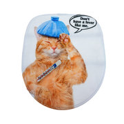 Toilet Seat Covers Bathroom Non-Slip Thermometer Fat Cat Pedestal Rugs Lid Toilet Covers Bath Mats