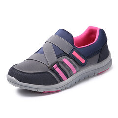 Buckle Color Blocking Soft Sole Hook Loop Breathable Sport Shoes