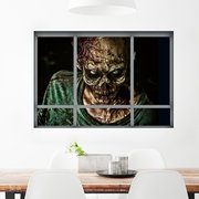 Halloween 3D Horrible Zombie Fake Windows Sticker Bedroom Living Room Haunted House Decor Ghost Wall