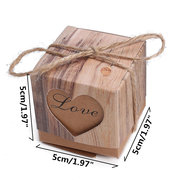 50Pcs Heart In Love Rustic Kraft Candy Box Burlap Jute Chic Wedding Favor Party Gift Supplies