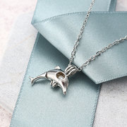 Retro Pearl Necklace Cute Dolphin Openable Pendant Chain Jewelry for Women Men Gift