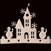 2 Pieces Small House Window Decals Christmas Tree Ornament  Snowman Sticker Decoration