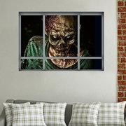 Halloween 3D Horrible Zombie Fake Windows Sticker Dormitorio Sala de estar Casa Embrujada Decoración Ghost Wall