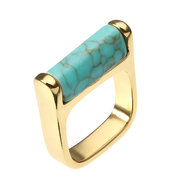 JASSY® Women Bohemian Ring 18K Gold Plated Blue Turquoise Vintage Fine Jewelry Gift