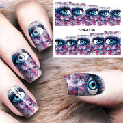 Dancingnail Decoración de uñas de uñas de Halloween Colorful Eyes Charming Manicure Nails Decal