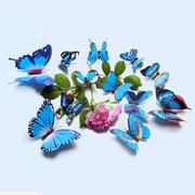 12 قطع 3d الأزرق الملونة فراشة الجدار ملصق الكريسمس ديكور المنزل الفن زين