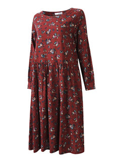 Vintage Floral Printed Long Sleeve Long Maxi Dress For Women