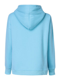Women Long Sleeve Pullover Pure Color Hooded Sweatshirt