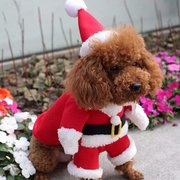 Pet Dog Puppy Christmas Clothes Apparel Santa Claus Costume Outfit With Hat