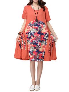 O-NEWE Vintage Floral Printed Patchwork Short Sleeve Dress