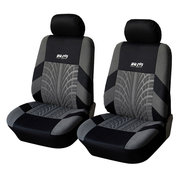 Double Seat Fabric Car Full Surround Front Seat Cover Cushion Protector Chair Pad Universal Black and Grey
