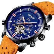 Relojes mecánicos automáticos del calendario azul de KINYUED Relojes del cuero genuino del negocio de los hombres