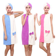 Flannel Soft Absorbent Skirts Salon Bathrobe Women SPA Bath Towel With Hair Dry Cap